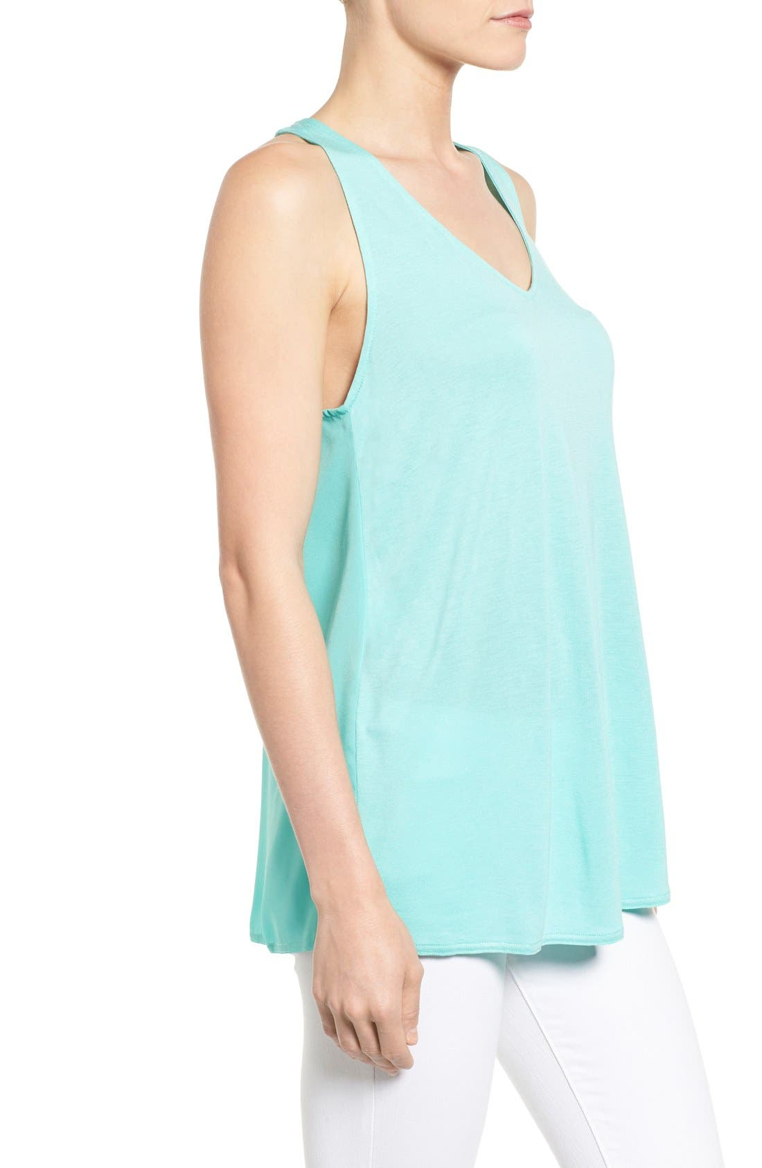 Alternate Image 3  - Halogen® Mixed Media Racerback Tank (Regular & Petite)