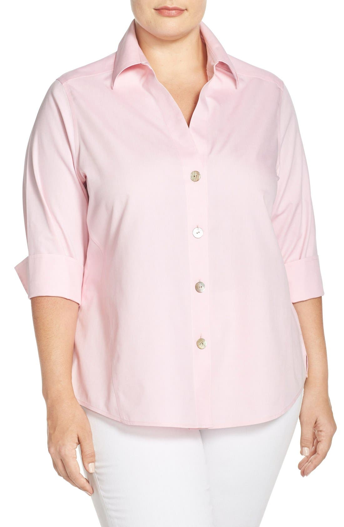 Foxcroft 'Paige' Non-Iron Cotton Shirt (Plus Size)