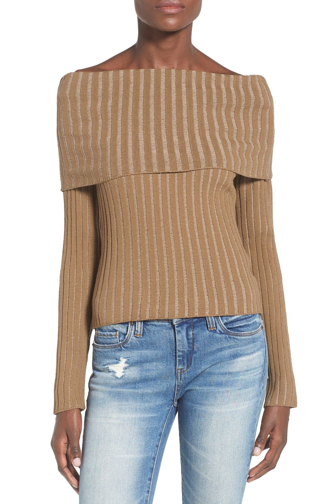 Alternate Image 1 Selected - Missguided Ribbed Off the Shoulder Sweater