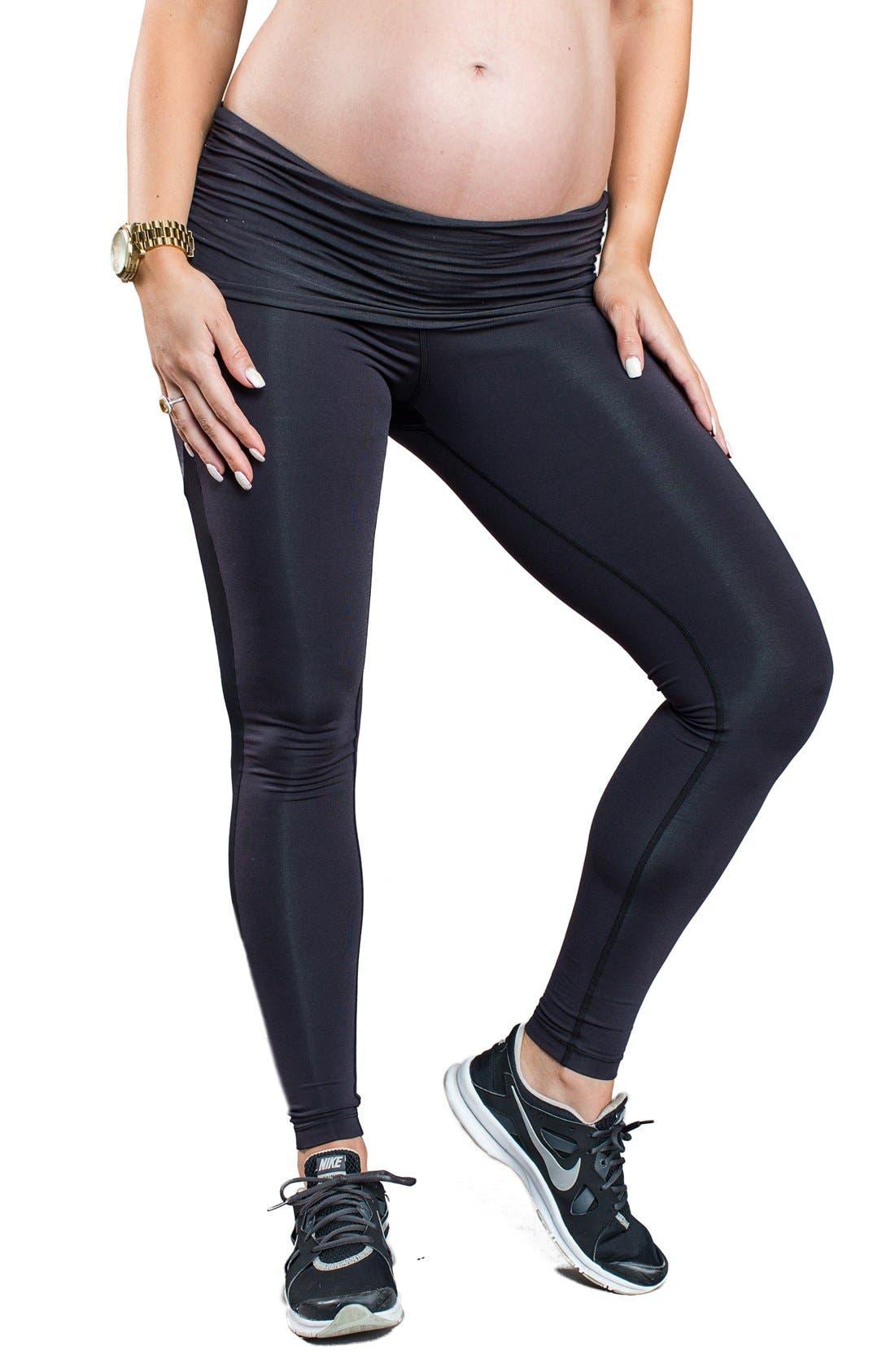 COZY ORANGE 'Juno' Mesh Panel Maternity Leggings
