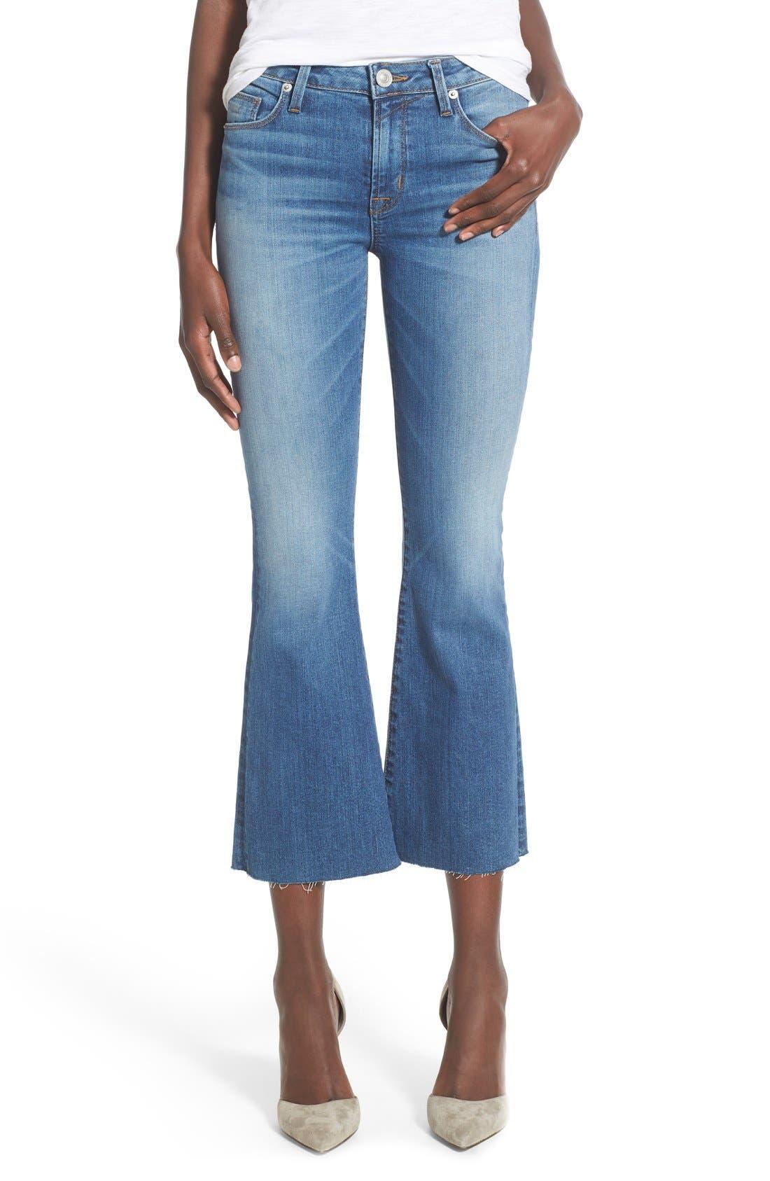 Main Image - Hudson Jeans 'Mia' Raw Hem Crop Flare Jeans (Carve)