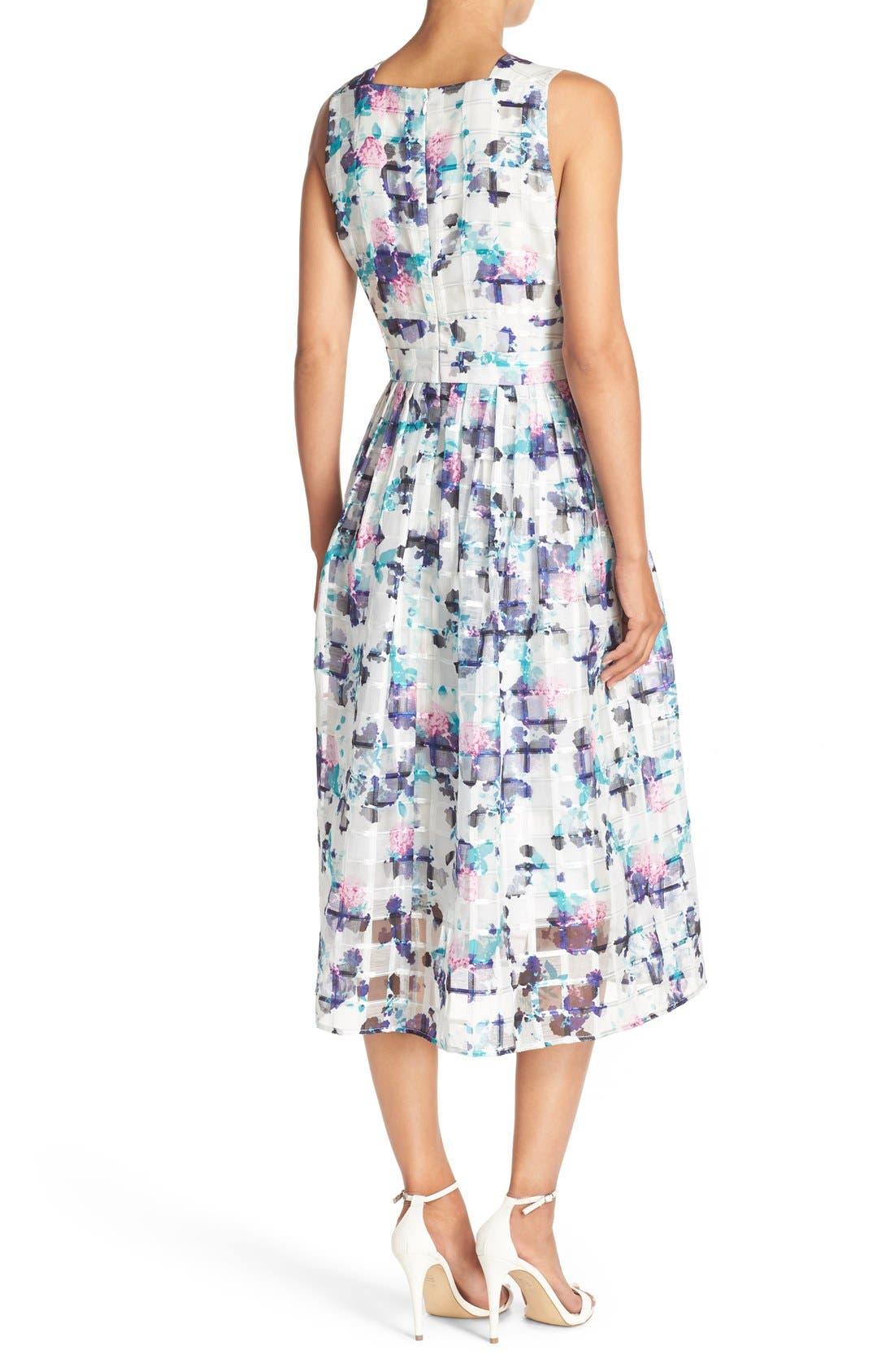 Alternate Image 2  - Ivanka Trump Floral Print Organza Midi Dress