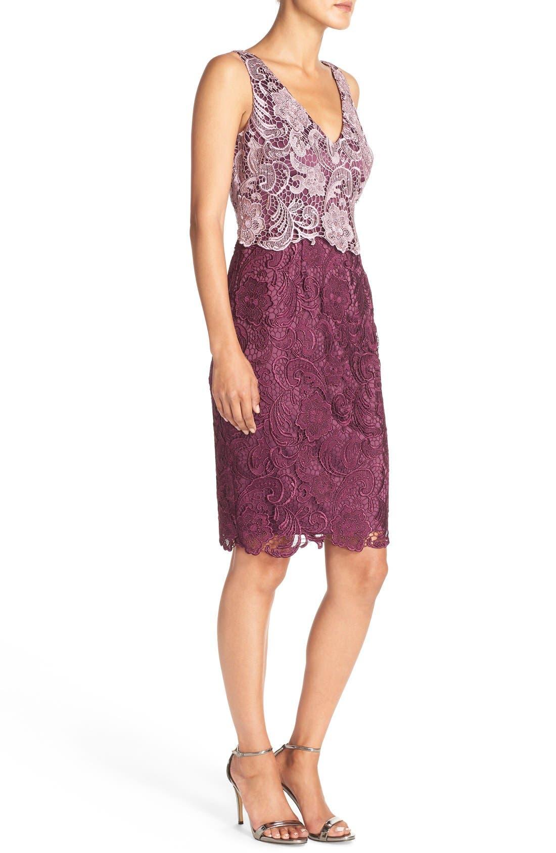 Alternate Image 3  - Adrianna Papell Colorblock Floral Lace Sheath Dress (Regular & Petite)