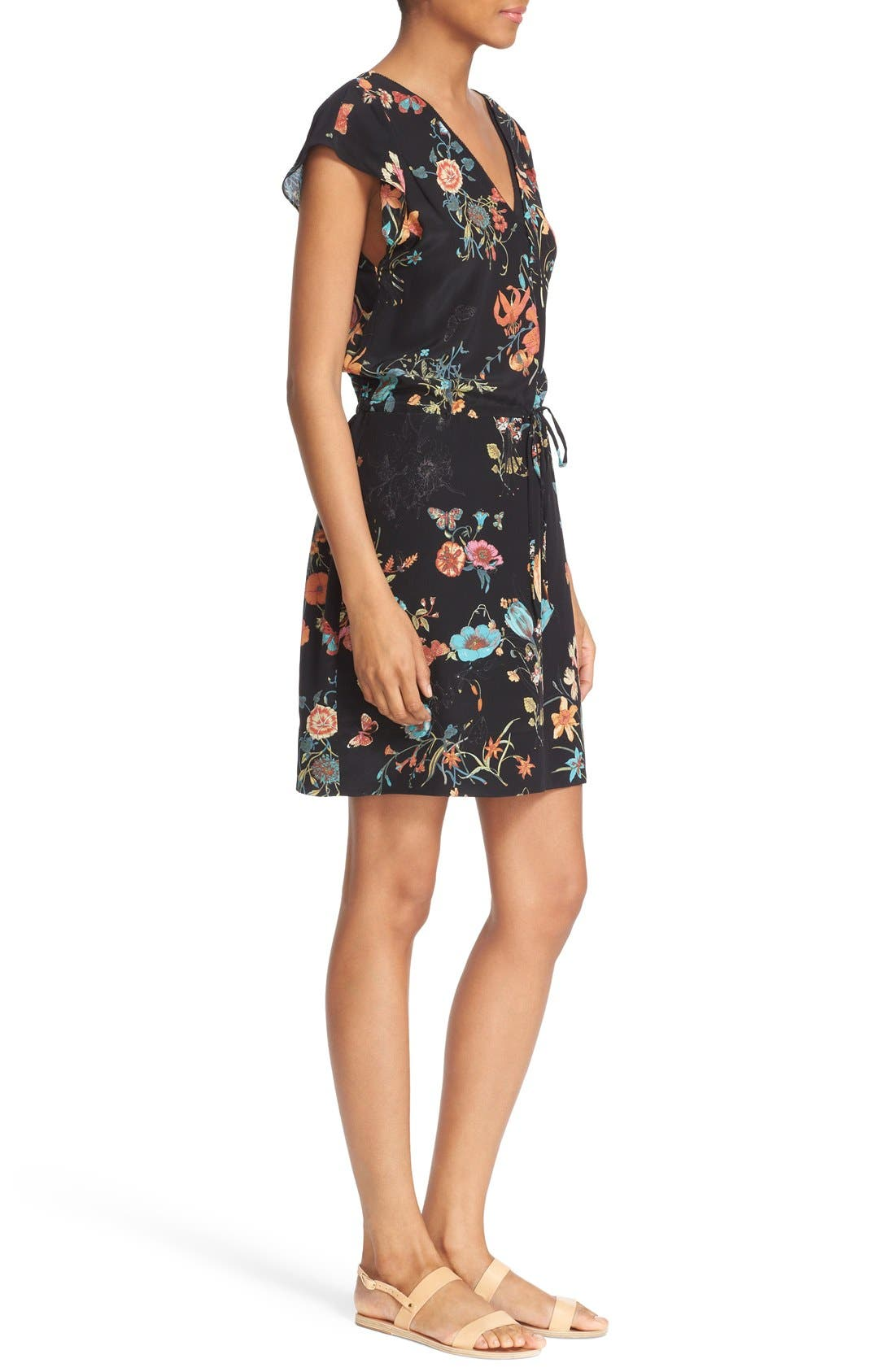 Alternate Image 3  - Rebecca Taylor 'Meadow Floral' Print Silk V-Neck Dress