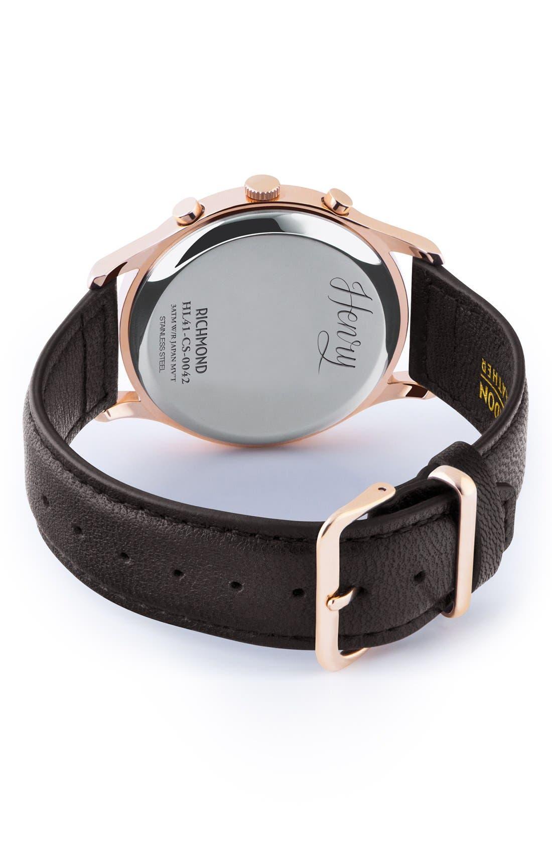Alternate Image 3  - Henry London 'Richmond' Chronograph Leather Strap Watch, 41mm