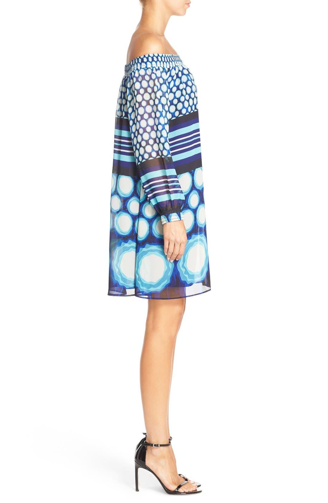 Alternate Image 3  - ECI Off the Shoulder Print Chiffon Trapeze Dress