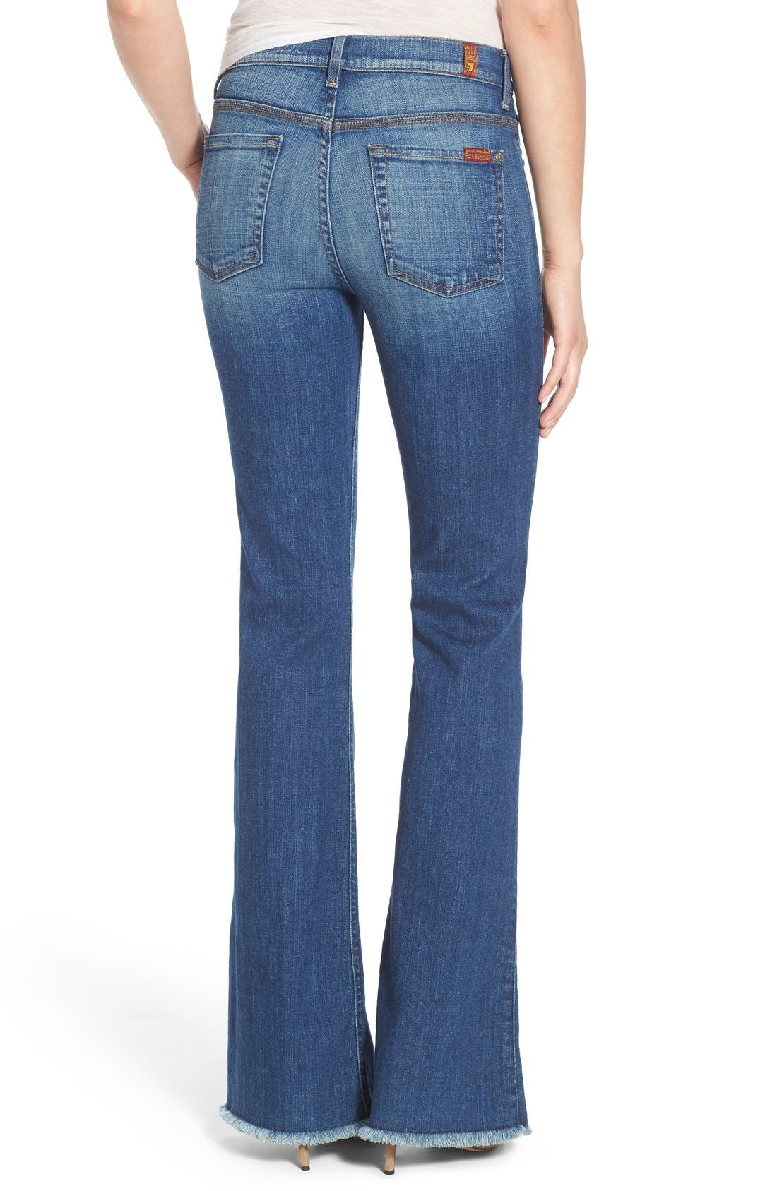 Alternate Image 2  - 7 For All Mankind® 'Ginger' High Rise Raw Hem Flare Jeans (Athens Broken Twill)