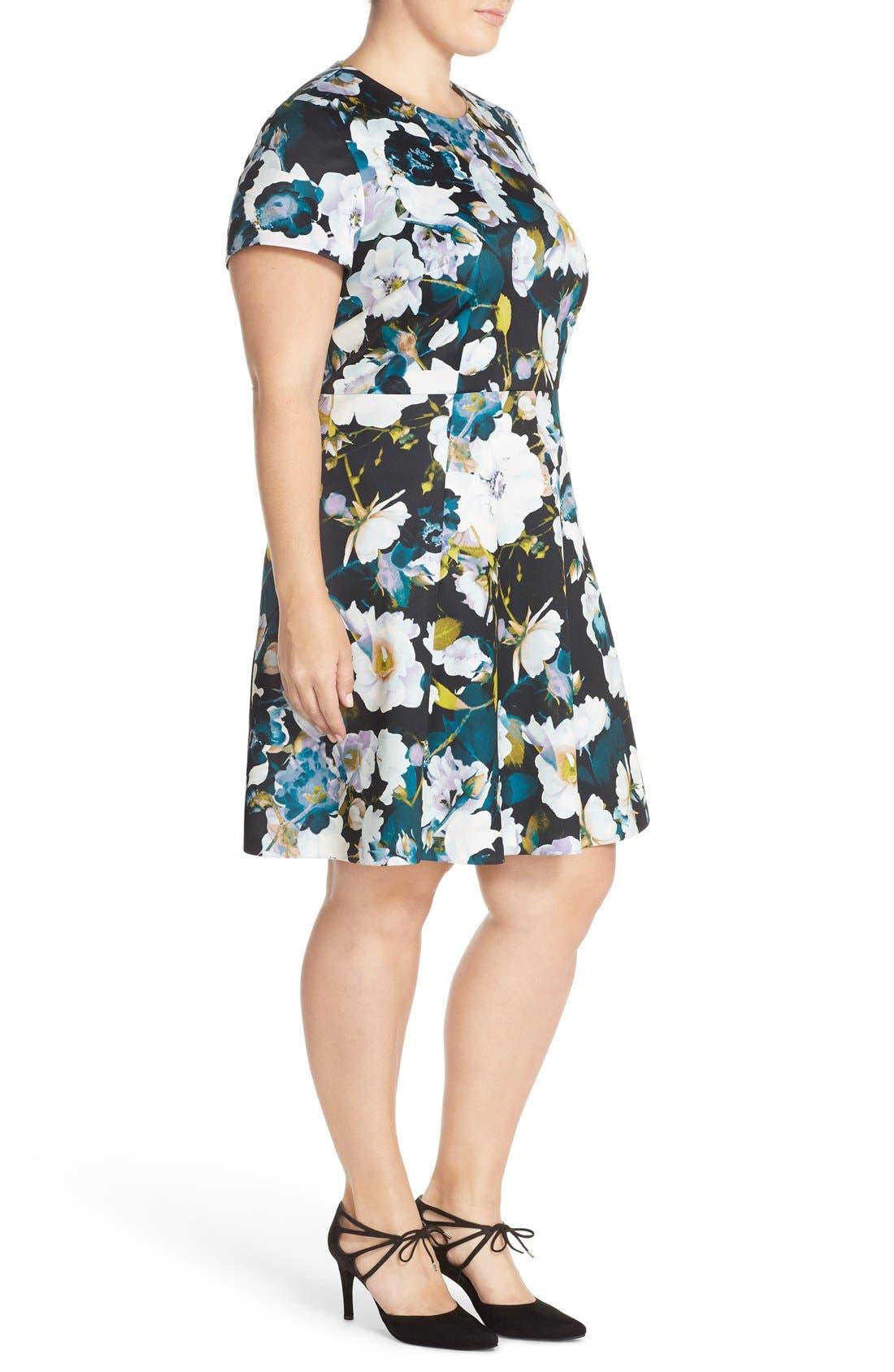 Alternate Image 4  - Eliza J Floral Ponte Fit & Flare Dress (Plus Size)