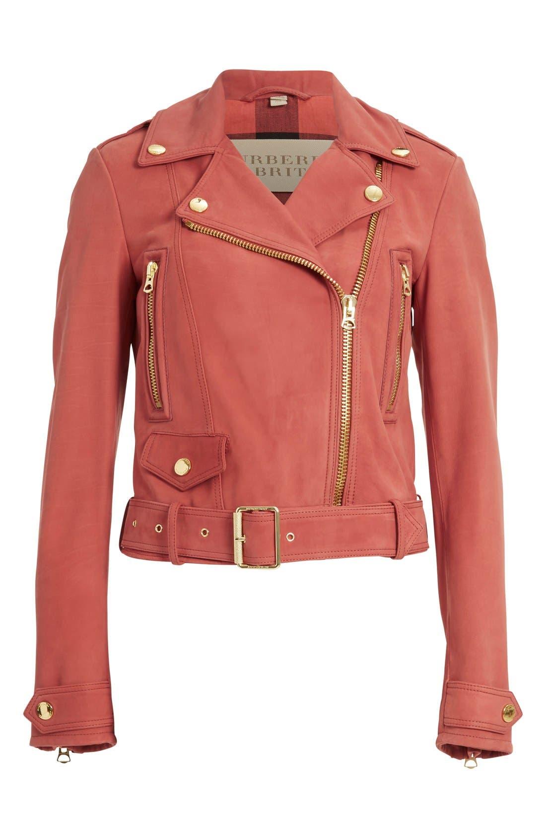 Alternate Image 4  - Burberry Brit 'Pattersby' Suede Moto Jacket