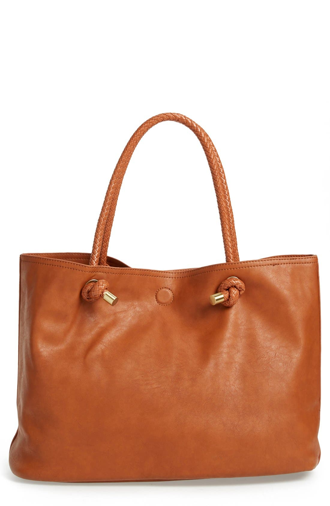 Main Image - Sole Society Braided Handle Faux Leather Tote