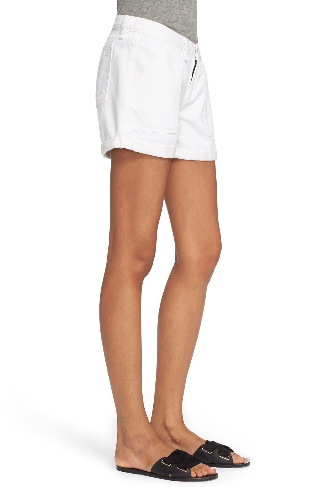 Alternate Image 3  - rag & bone/JEAN 'Carpenter' Cuffed Denim Shorts (Aged Bright White)