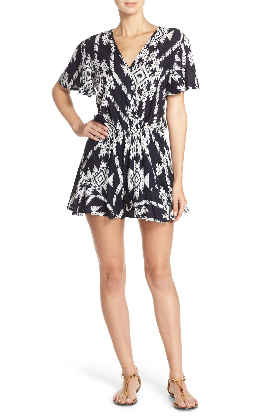 Alternate Image 1 Selected - Fraiche by J Print Wrap Front Romper
