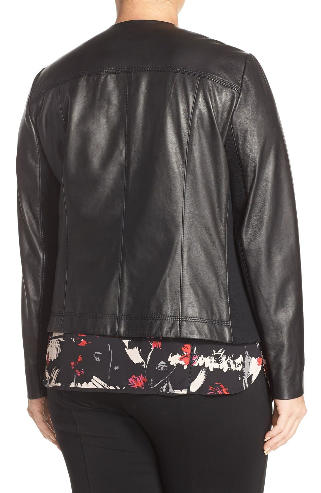 Alternate Image 3  - Sejour Drape Collar Leather Jacket (Plus Size)
