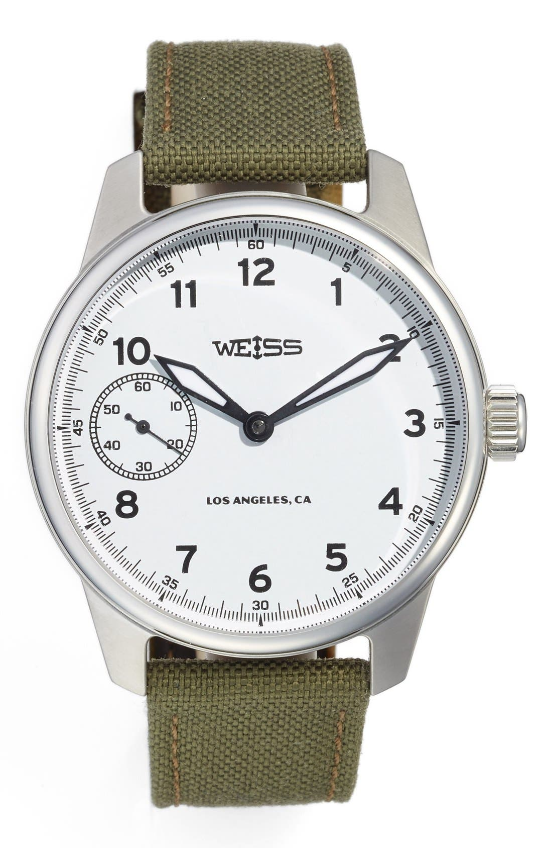 Weiss Watch Company 'Standard Issue' Nylon Strap Watch, 42mm
