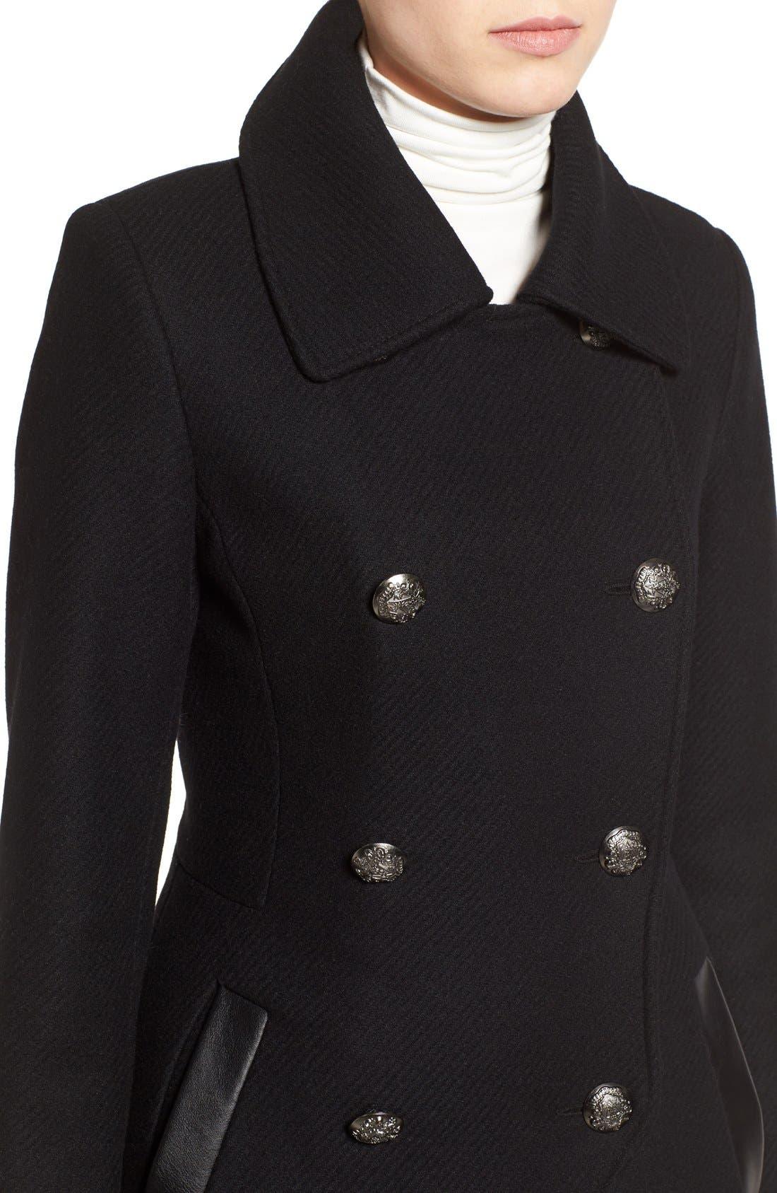 Alternate Image 4  - Trina Turk Wool Blend Military Coat (Regular & Petite)