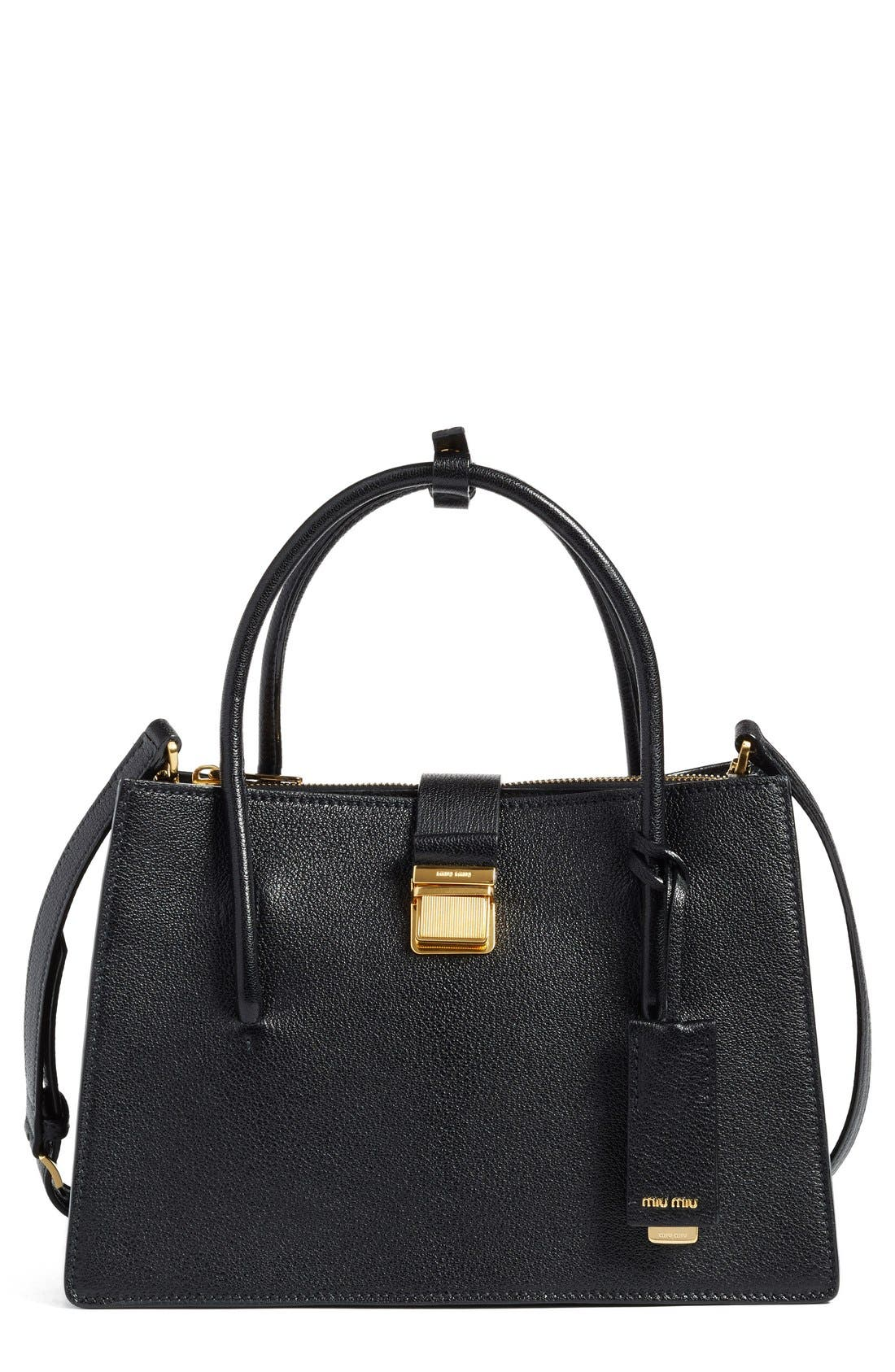 Miu Miu 'Small Madras' Goatskin Leather Satchel