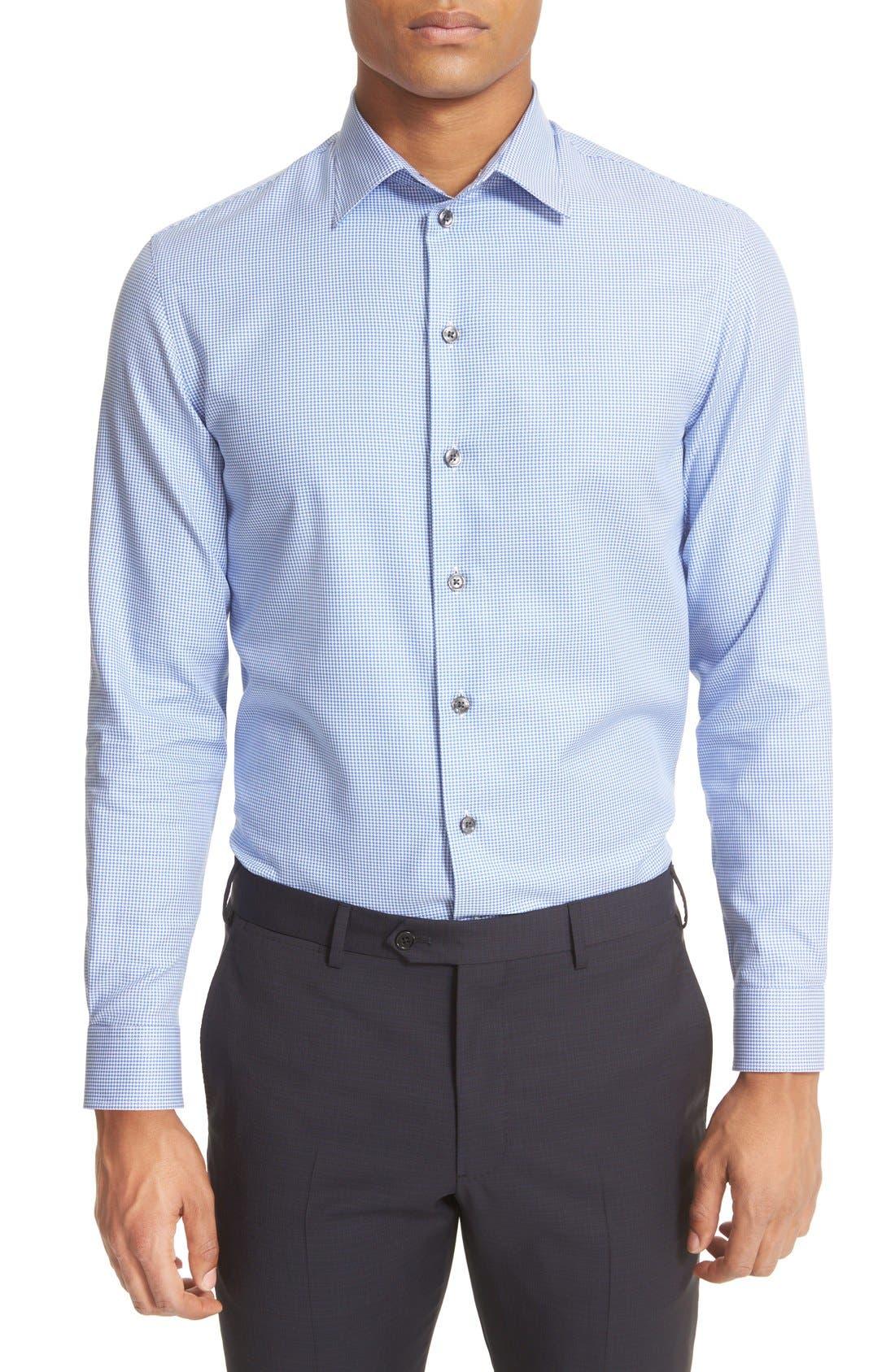 ARMANI COLLEZIONI Trim Fit Micro Houndstooth Dress Shirt