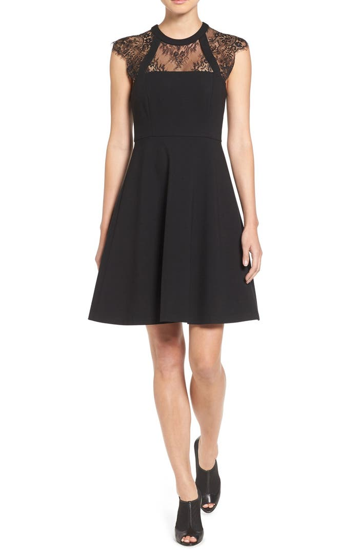 Vince Camuto Lace Yoke Cap Sleeve Fit Amp Flare Dress