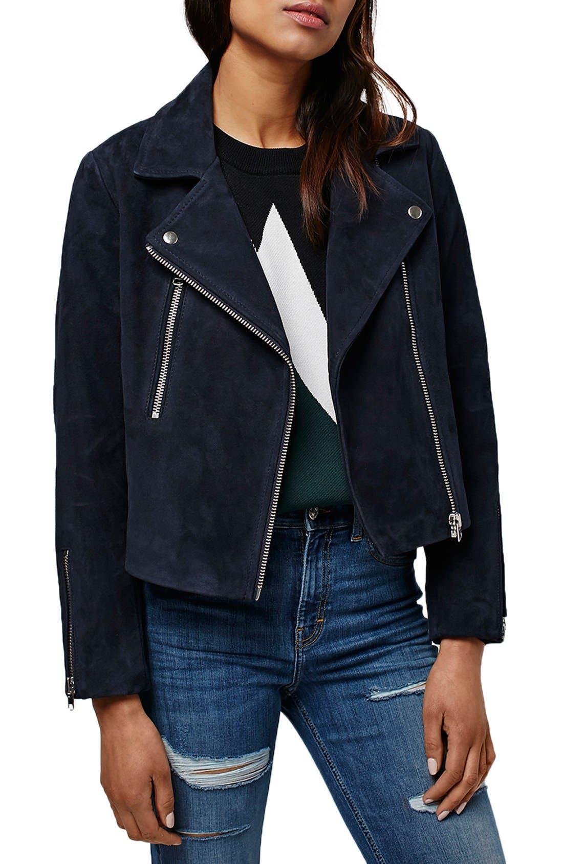 Alternate Image 1 Selected - Topshop 'Julie' Suede Moto Jacket