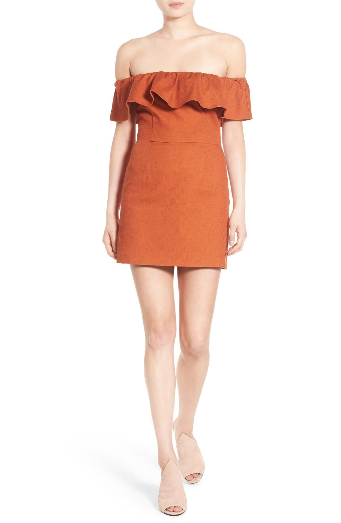 Alternate Image 1 Selected - KENDALL + KYLIE Ruffle Off the Shoulder Minidress