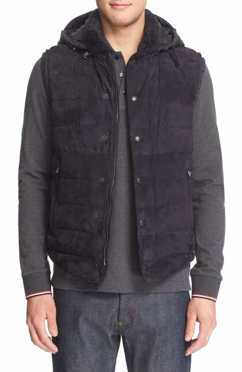 Moncler Quilted Down Vest with Chamois Suede Front