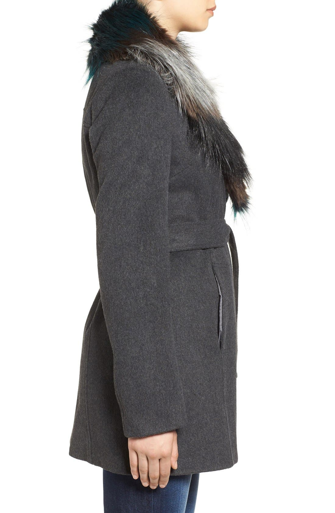 Alternate Image 3  - Sam Edelman Wool Coat with Removable Faux Fur Collar