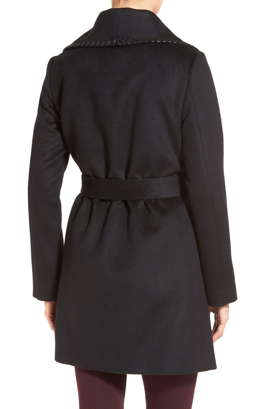 Alternate Image 2  - Elie Tahari Whipstitch Wool Blend Wrap Coat