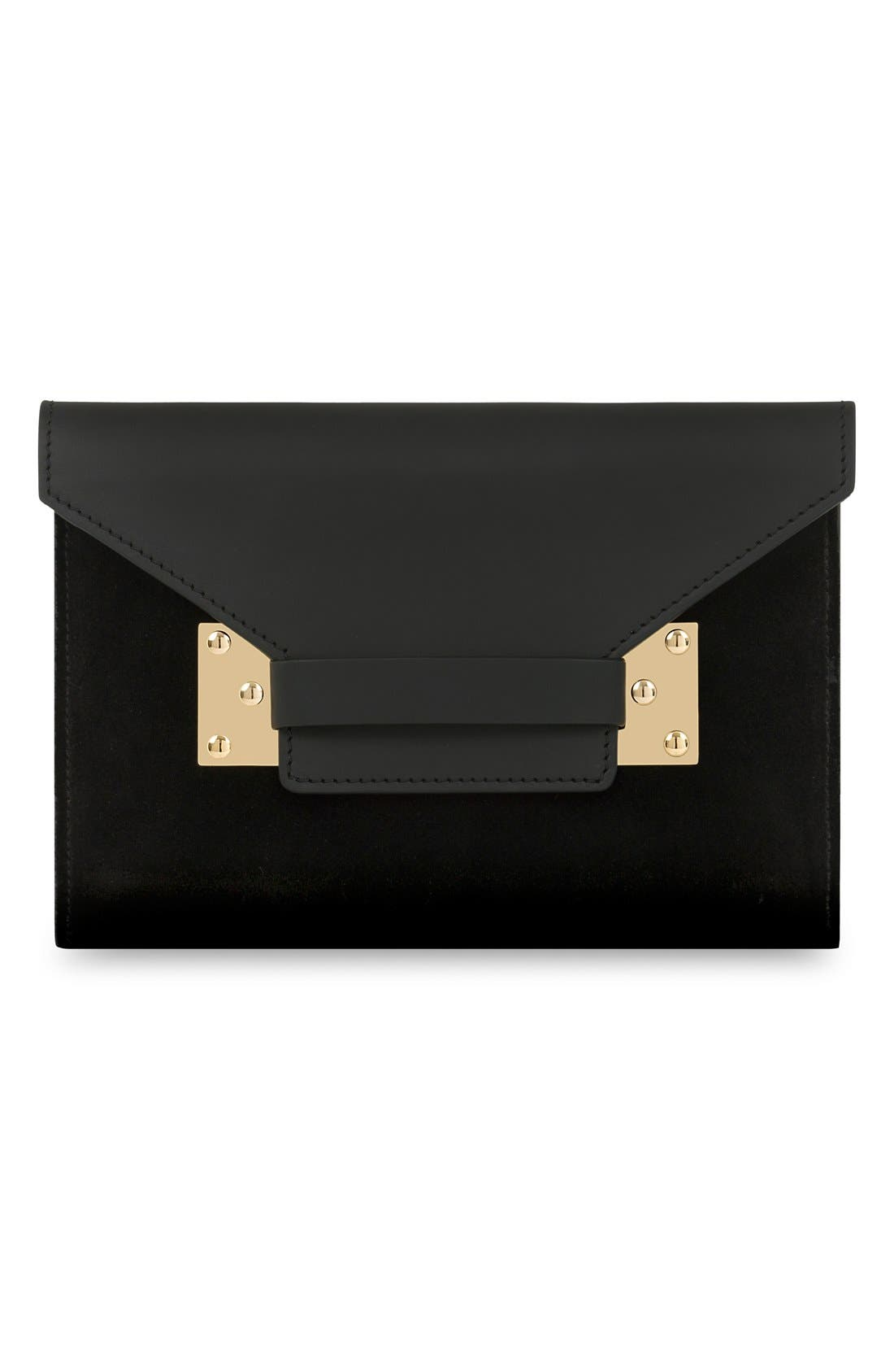 Main Image - Sophie Hulme 'Milna' Suede & Leather Envelope Clutch