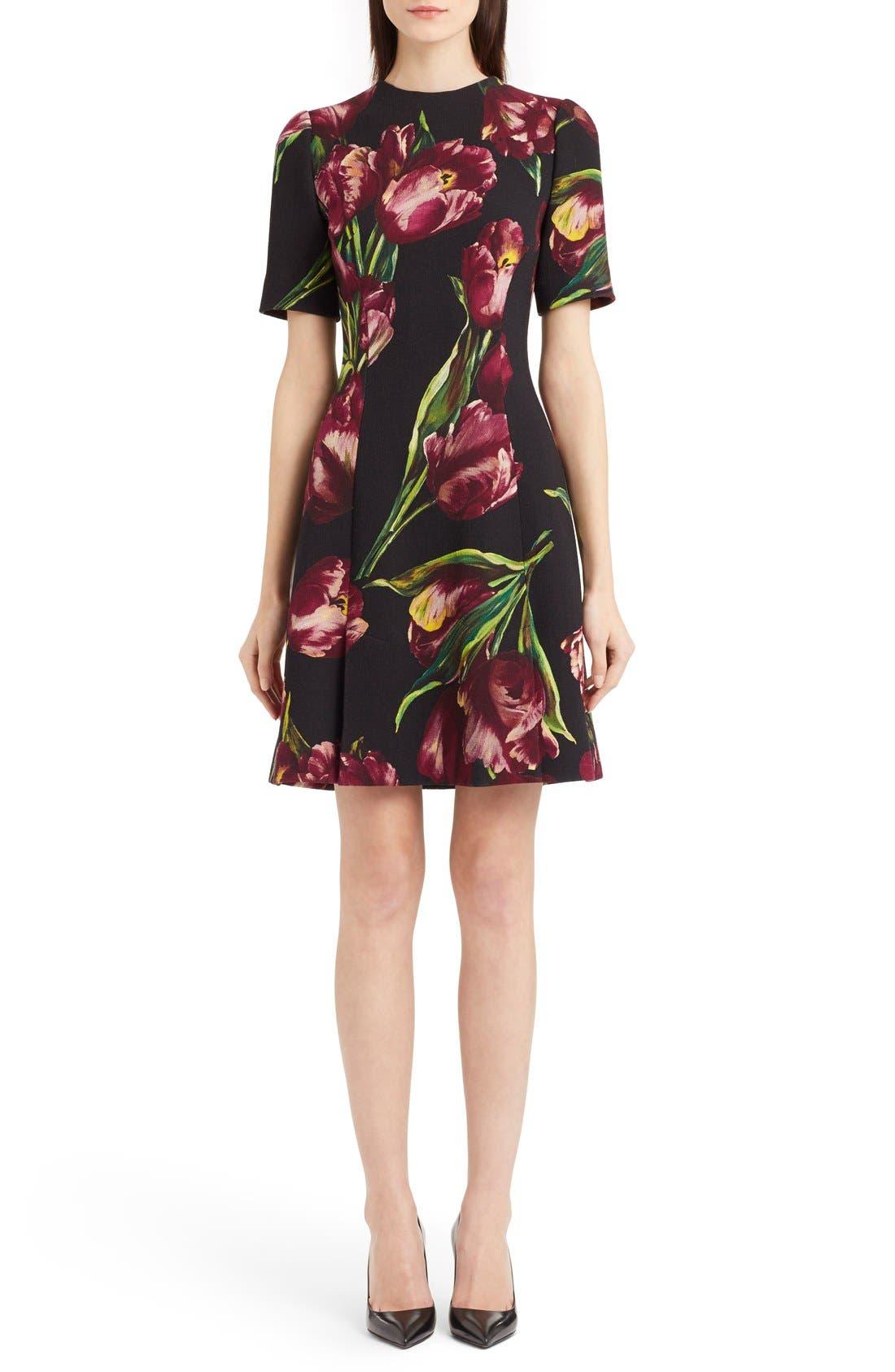 Main Image - Dolce&Gabbana Tulip Print Wool A-Line Dress