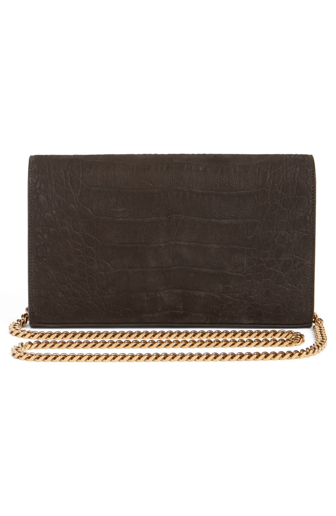 Alternate Image 2  - Saint Laurent 'Small Kate - Tree' Croc Embossed Calfskin Leather Wallet on a Chain