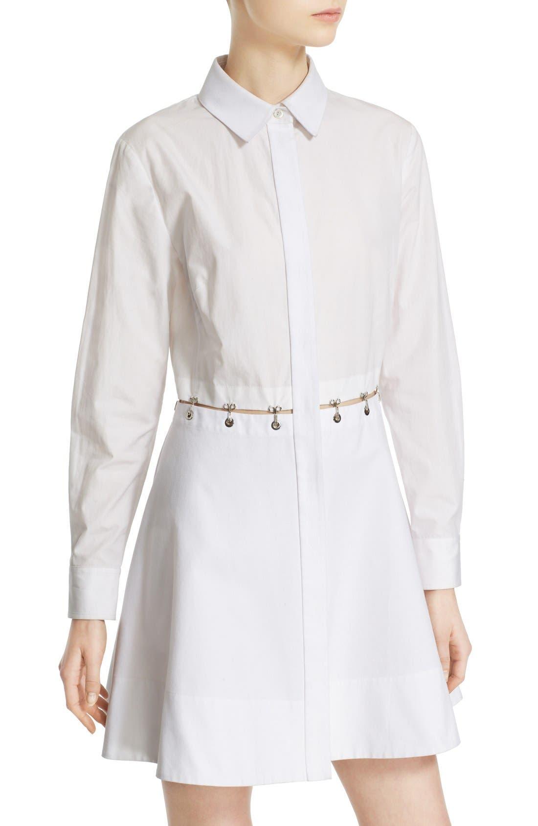 Alternate Image 6  - Alexander Wang Hook & Grommet Detail Cotton Poplin Shirtdress
