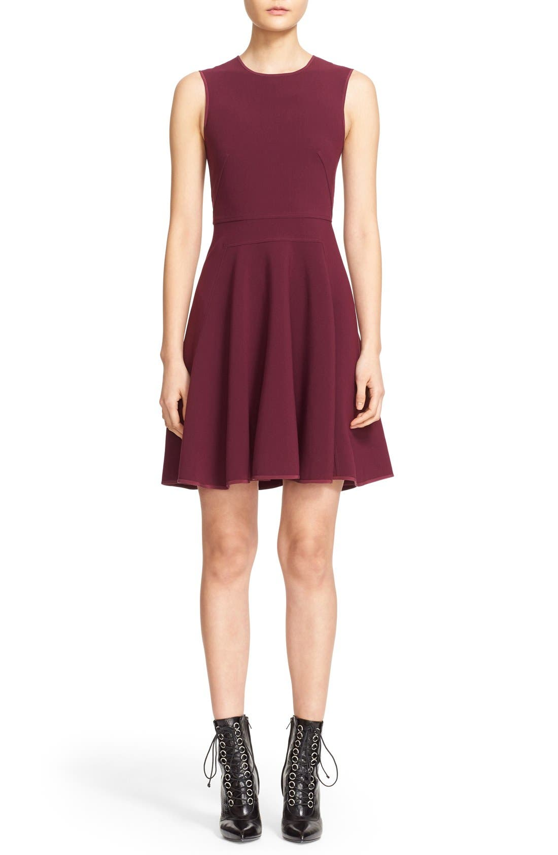 Alternate Image 1 Selected - Rebecca Taylor Seam Detail Sleeveless Fit & Flare Dress