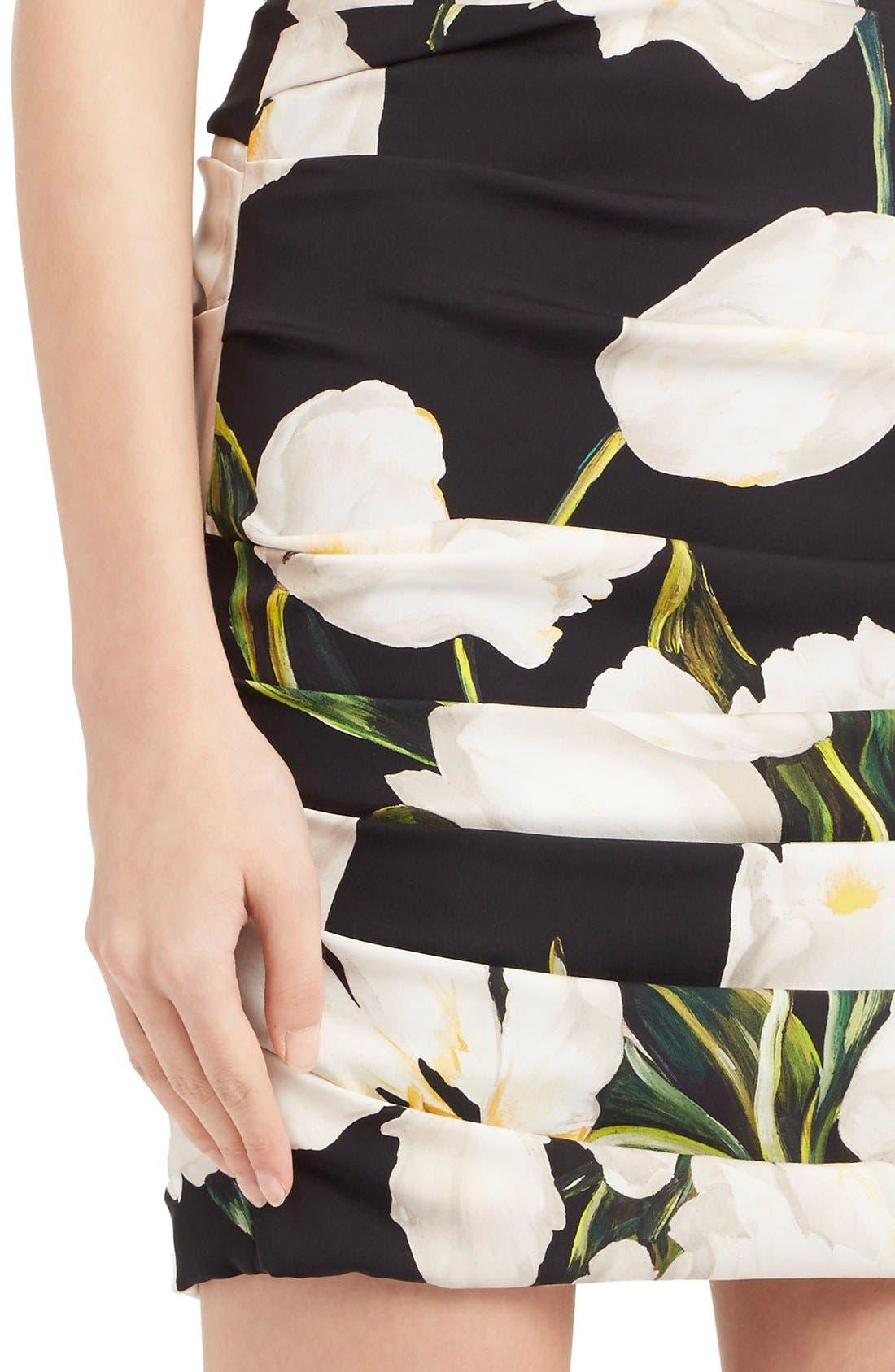 Alternate Image 6  - Dolce&Gabbana Ruched Tulip Print Stretch Silk Charmeuse Dress