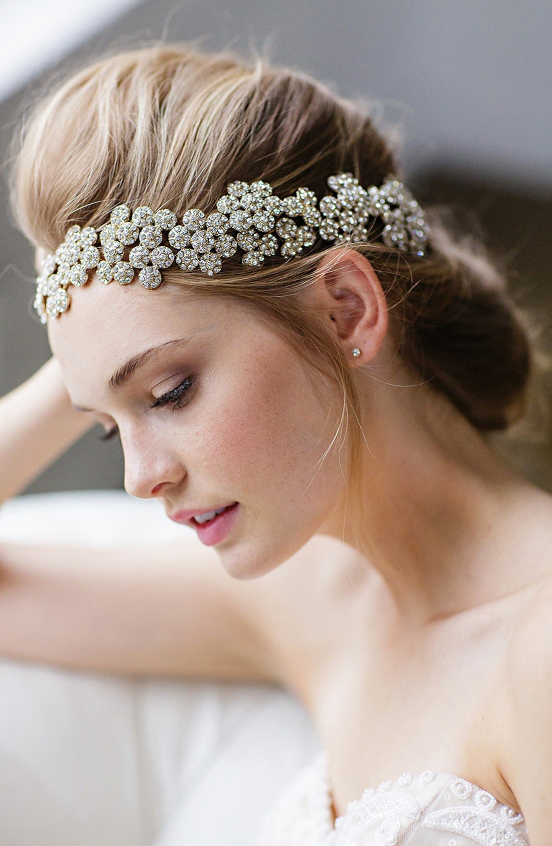 Alternate Image 2  - Brides & Hairpins Fiora Crystal Halo & Sash
