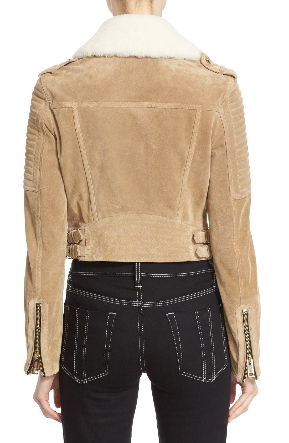 Alternate Image 2  - Burberry 'Peakhurst' Suede Biker Jacket with Removable Genuine Shearling Collar
