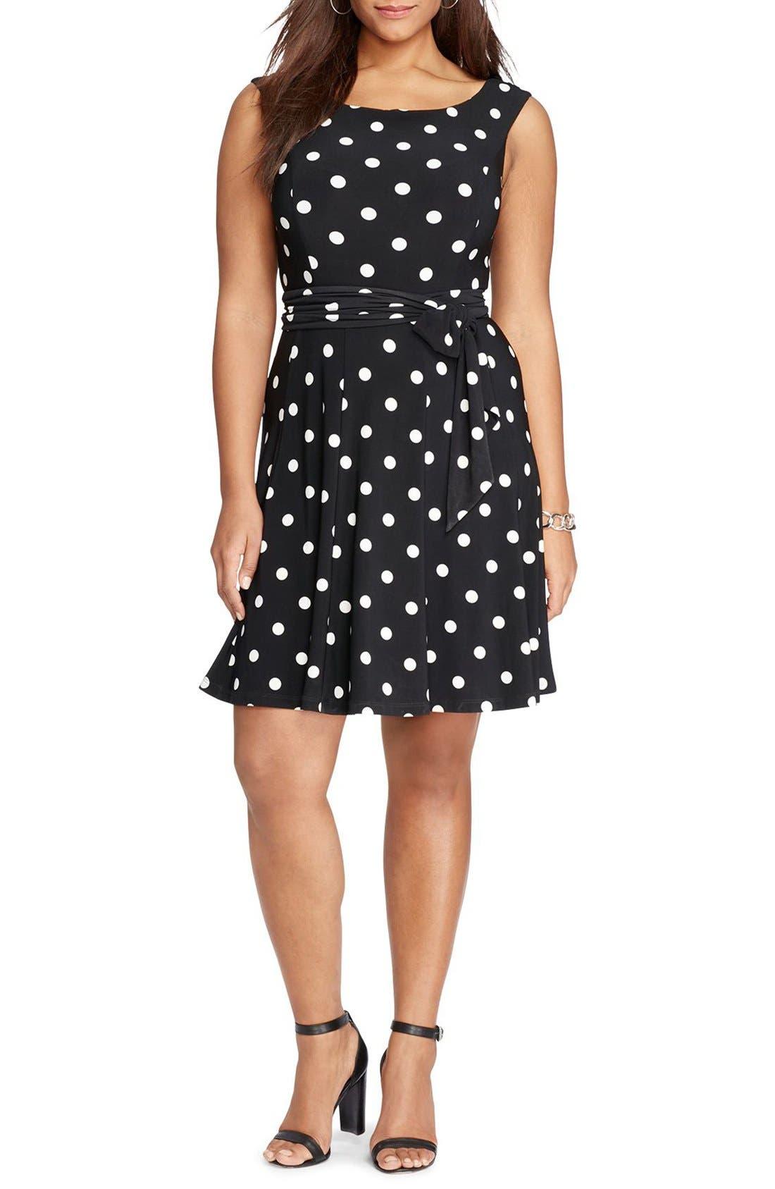 Main Image - Lauren Ralph Lauren Dot Fit & Flare Dress (Plus Size)