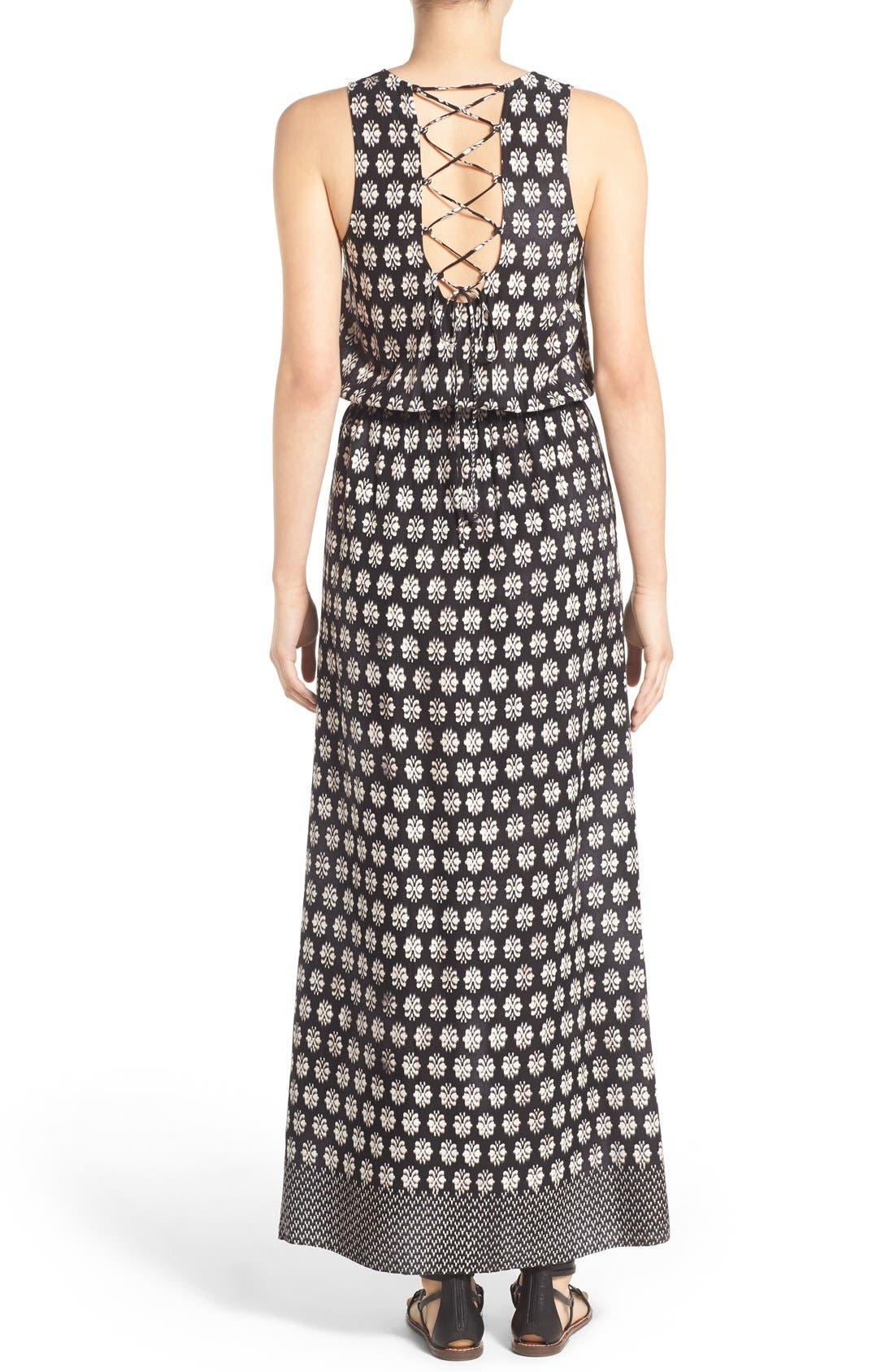 Alternate Image 2  - Mimi Chica Print Lace Up Maxi Dress