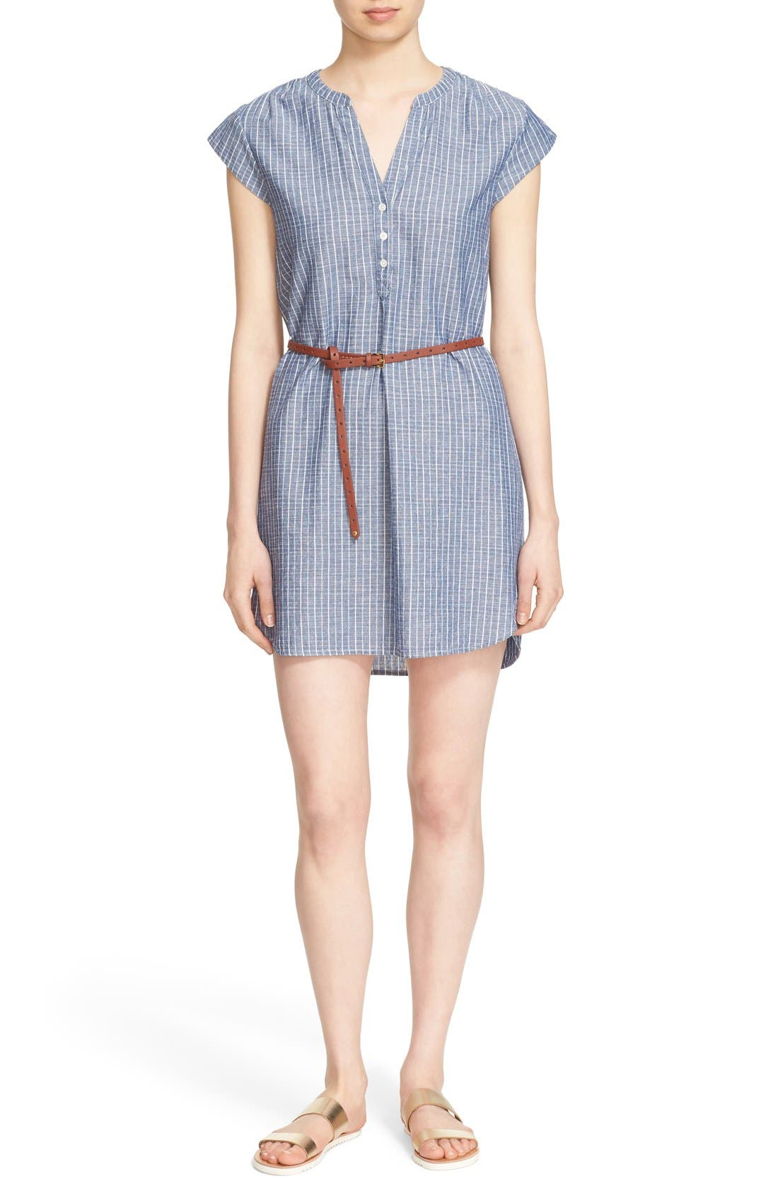 Alternate Image 1 Selected - Joie 'Neha' Belted Cotton Split Neck Shirtdress