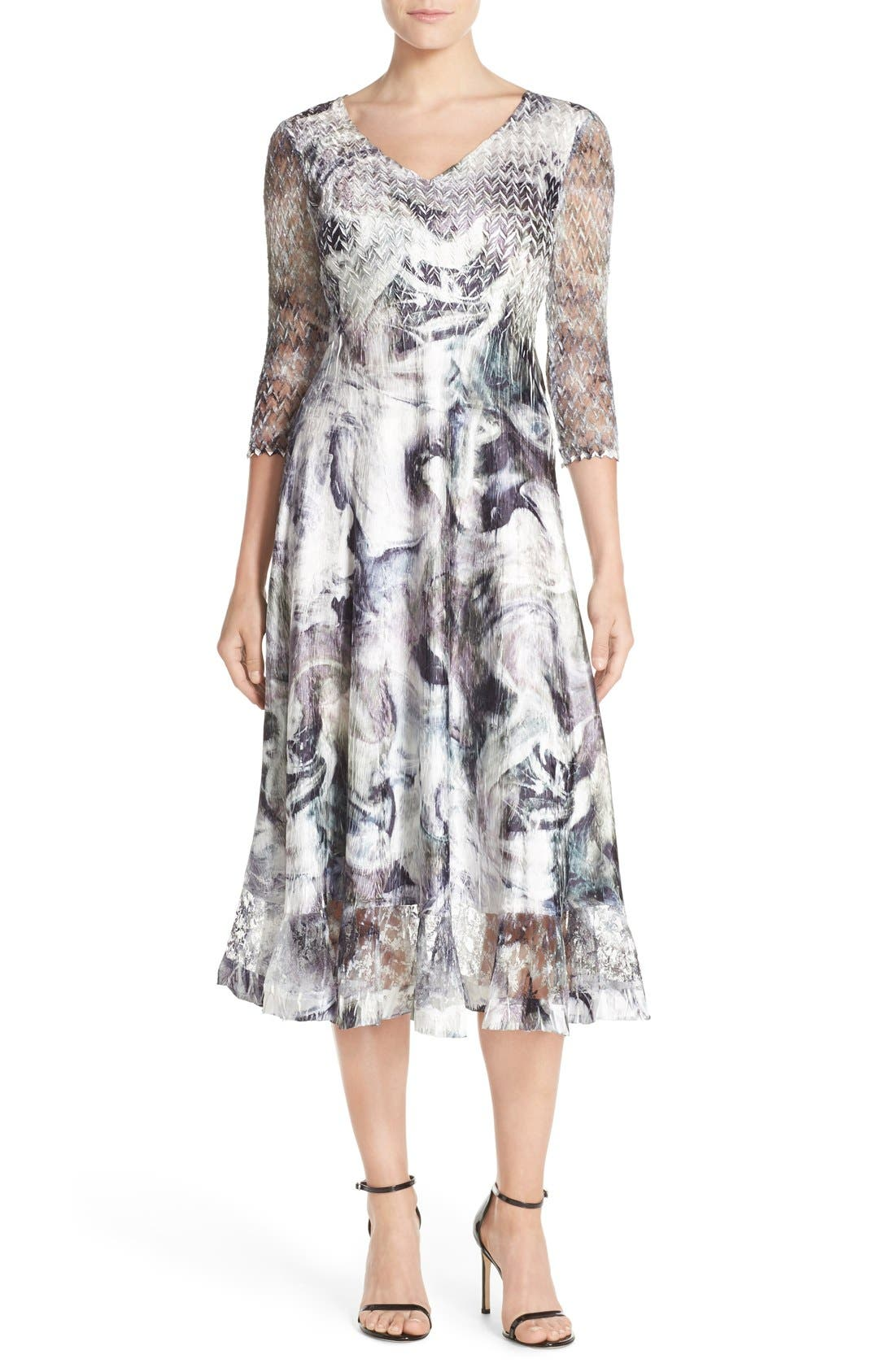 KOMAROV Mixed Media Midi Dress