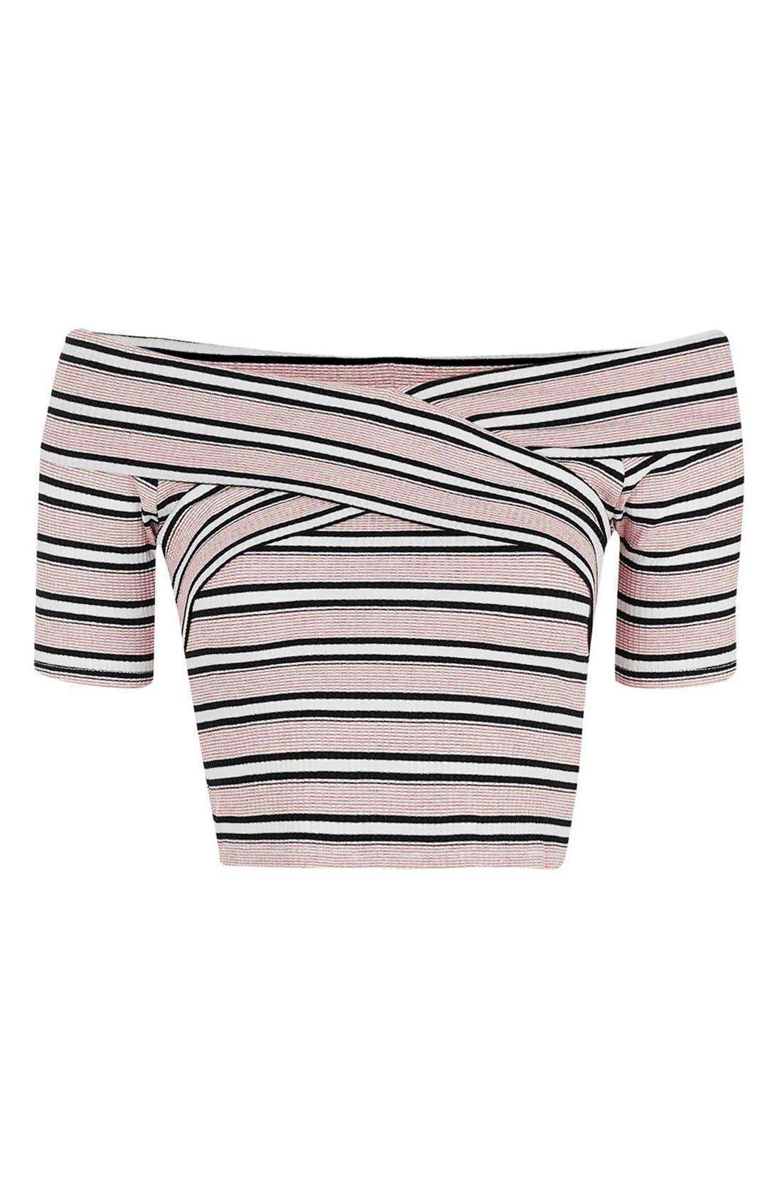 Alternate Image 4  - Topshop Stripe Off the Shoulder Crop Top (Petite)