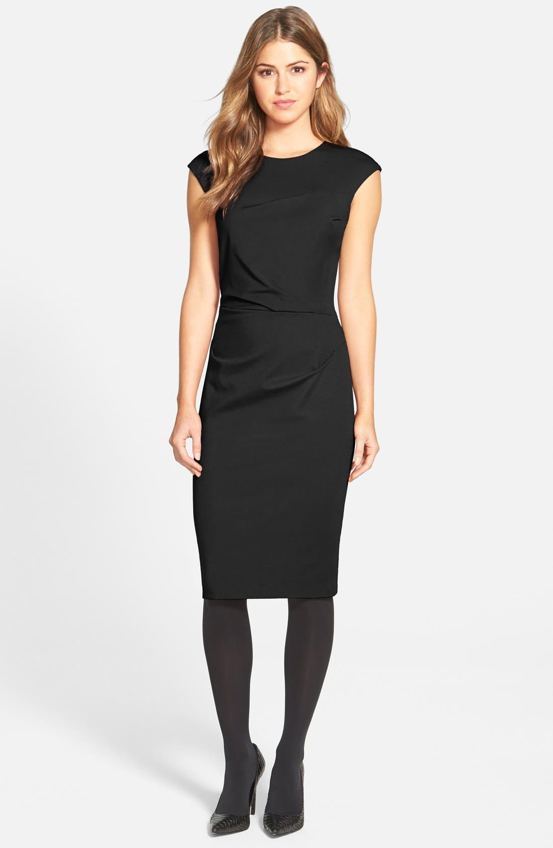 Alternate Image 3  - Betsey Johnson Ruched Ponte Sheath Dress (Online Only)