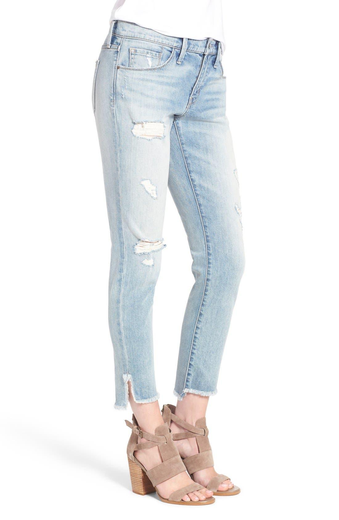 Alternate Image 4  - Treasure&Bond Ankle Boyfriend Skinny Jeans (Gravel Light Destroy)