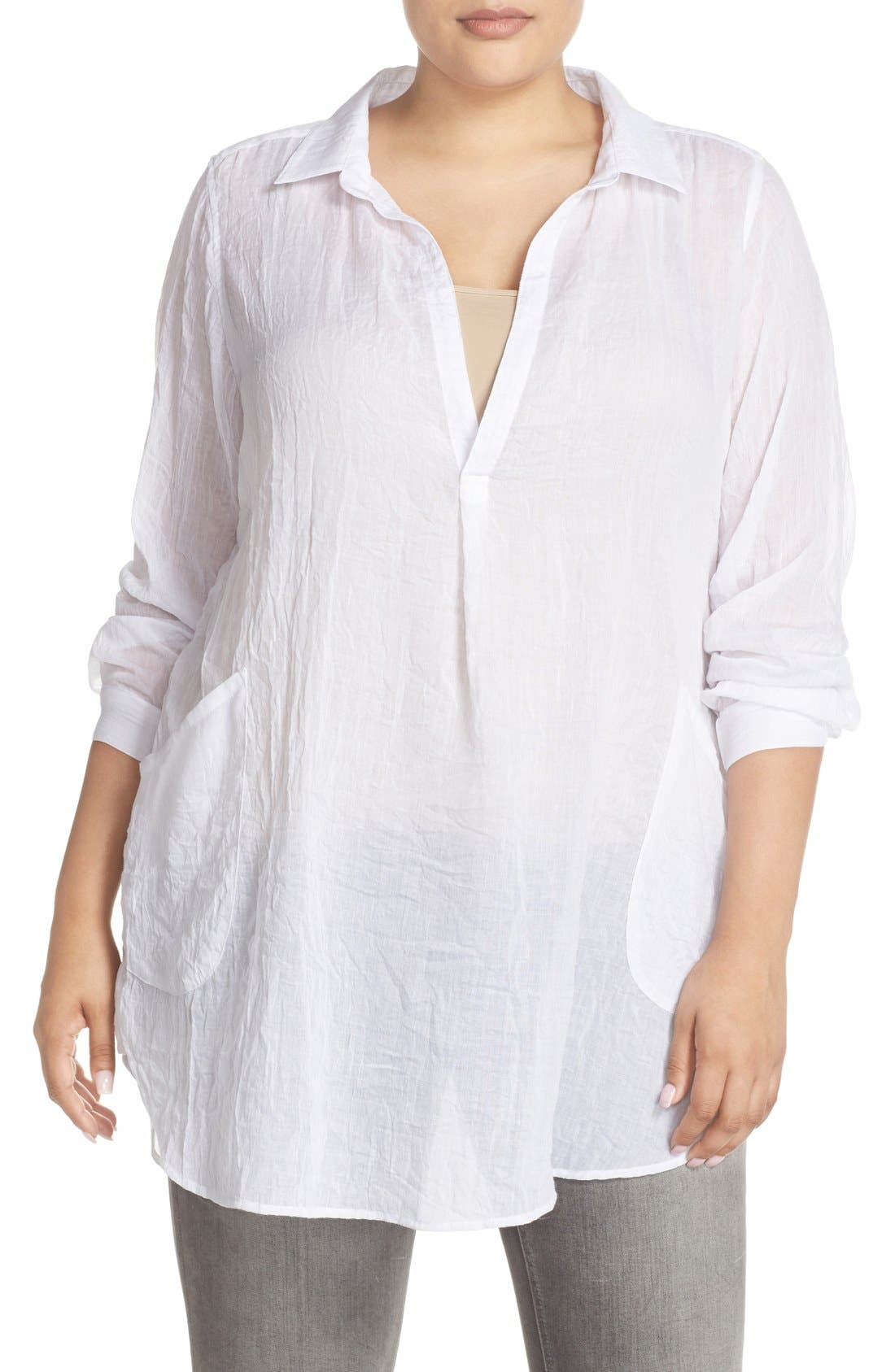 Main Image - Melissa McCarthy Seven7 Patch Pocket Tunic Shirt (Plus Size)