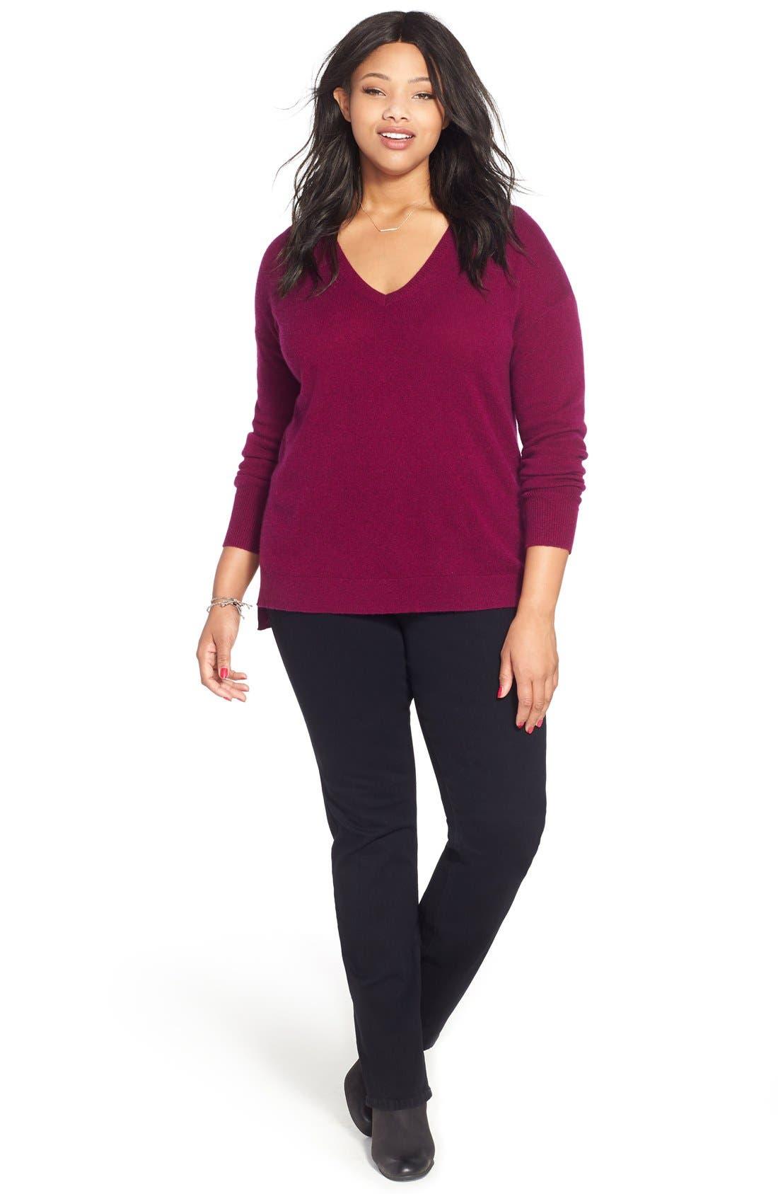 Alternate Image 2  - Halogen® V-Neck Cashmere Sweater (Plus Size)
