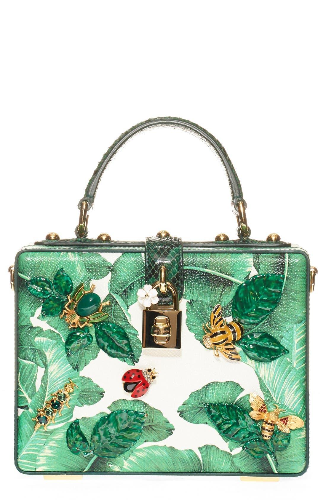 Main Image - Dolce&Gabbana 'Banana Leaf' Embellished Leather & Snakeskin Box Bag