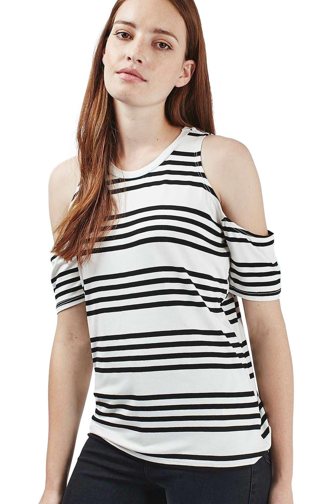 Alternate Image 5  - Topshop Stripe Cold Shoulder Tee