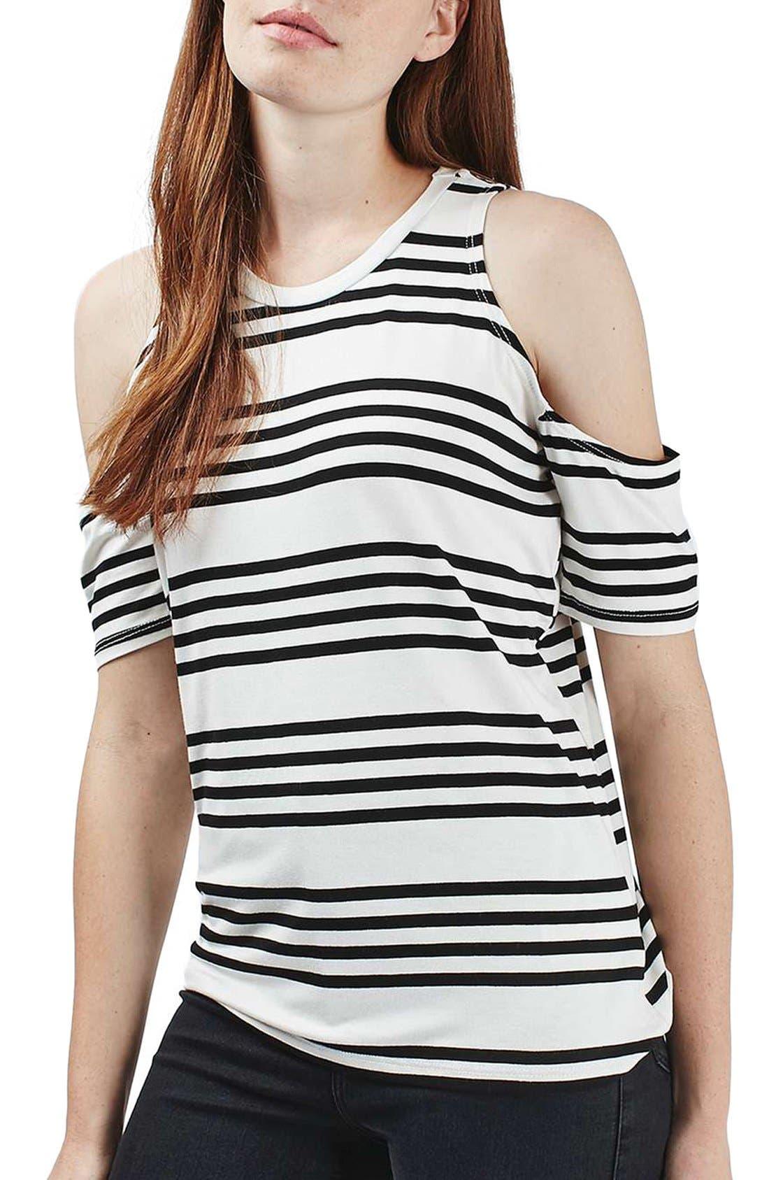 Alternate Image 1 Selected - Topshop Stripe Cold Shoulder Tee