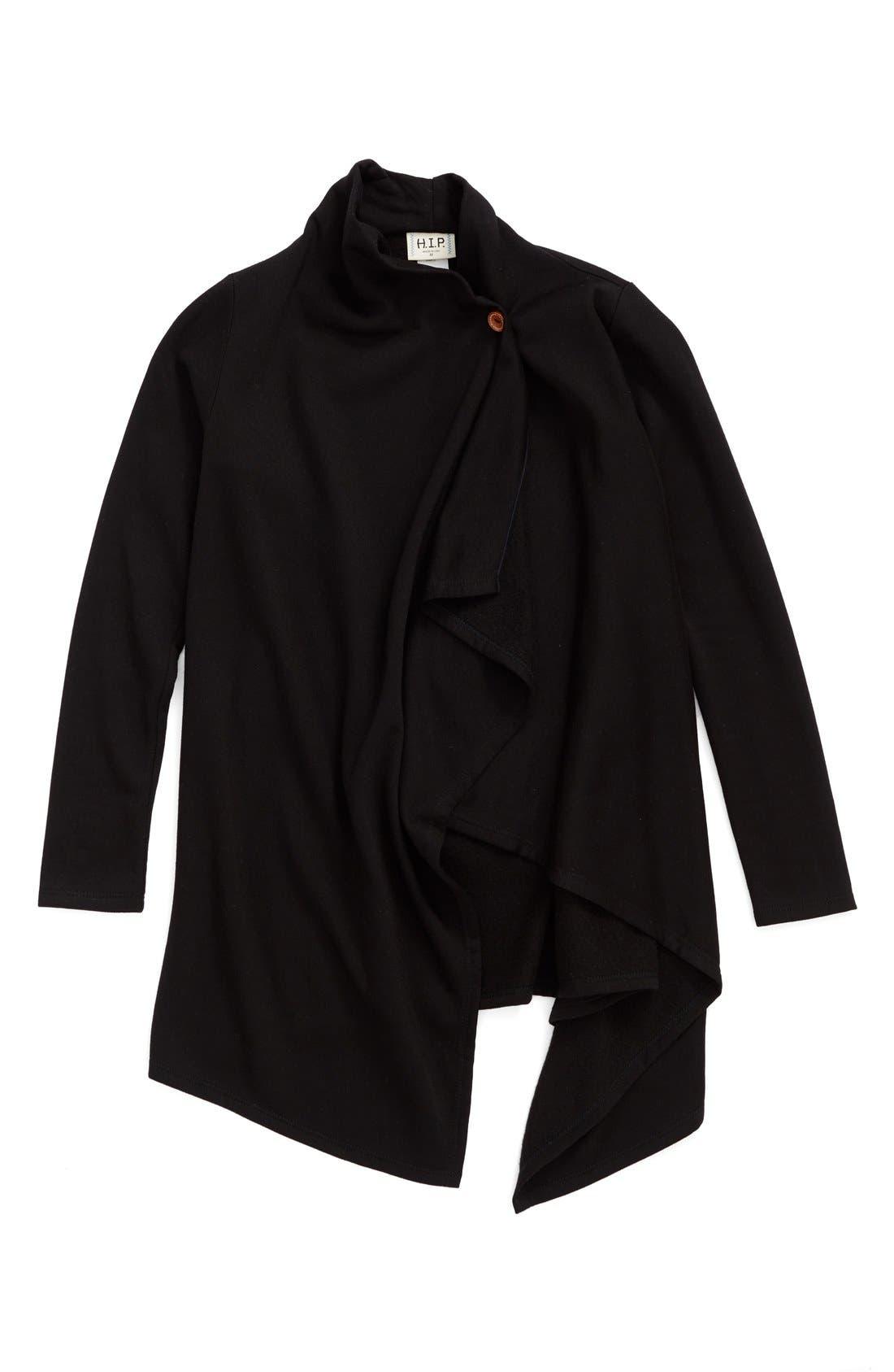 Alternate Image 1 Selected - h.i.p. One-Button Brushed Fleece Wrap Cardigan (Big Girls)