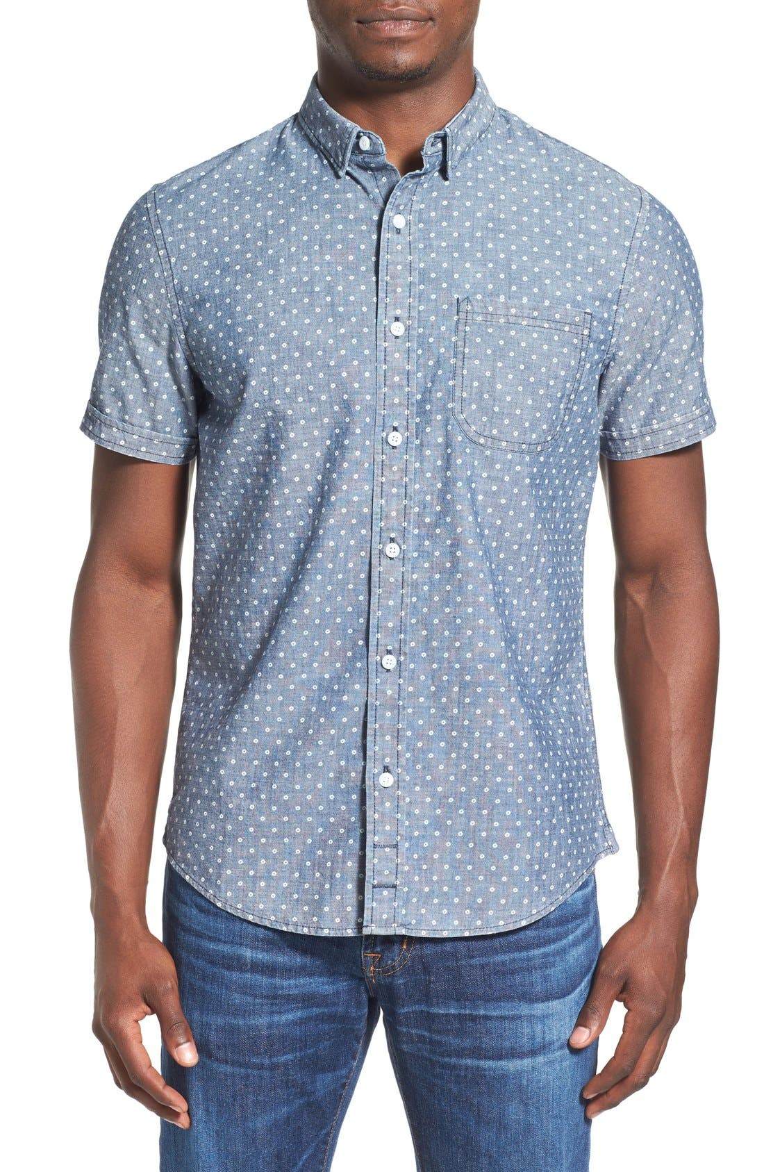 Main Image - 1901 'Whitman' Trim Fit Short Sleeve Dot Print Chambray Shirt