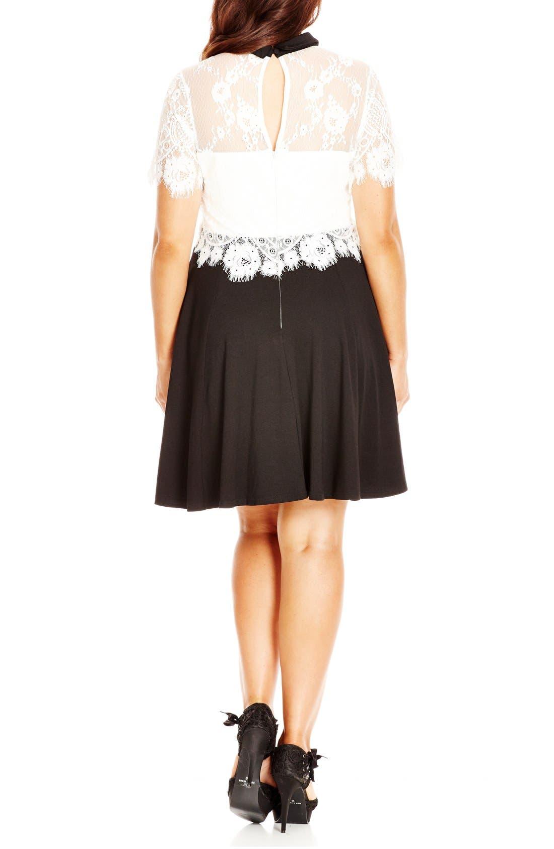 Alternate Image 2  - City Chic 'Innocent Layer' Lace Bodice Mock Two-Piece Dress (Plus Size)